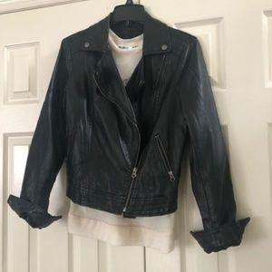 Black imitation leather Moto jacket
